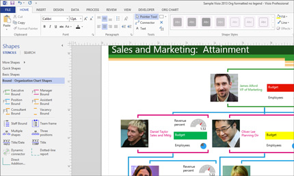 Capture d'écran d'un diagramme affichant les formes et effets disponibles.