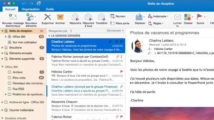 Capture d'écran d'une boîte de réception Microsoft Outlook2016 avec une liste de messages et un aperçu.