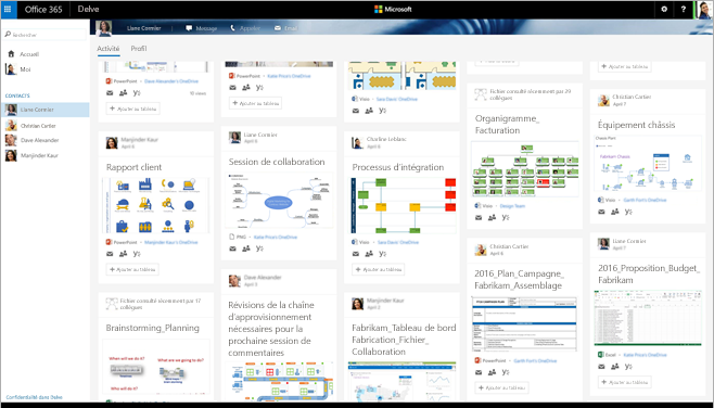 Écran dans Office 365 montrant des personnes et des diagrammes Visio pertinents dans Delve