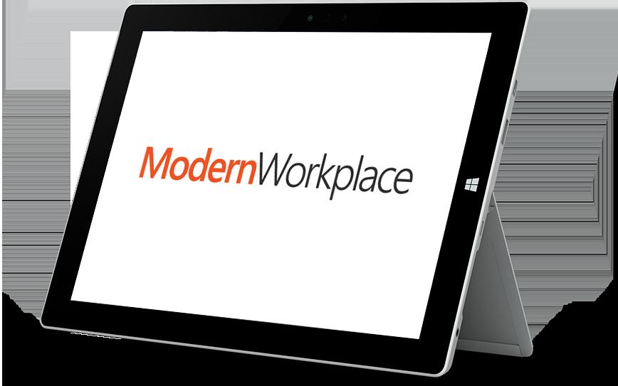 Tablette MicrosoftSurface avec ModernWorkplace affiché à l'écran
