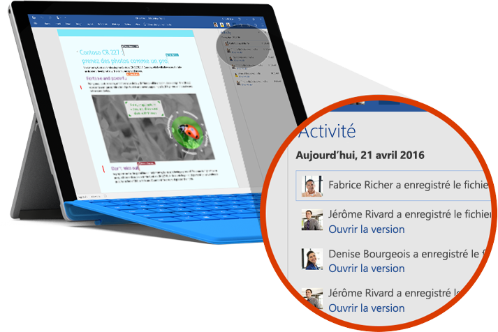 Tablette affichant l'historique des versions d'un document dans Office 365.