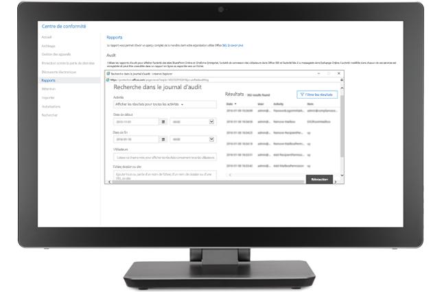 Un écran affichant une fenêtre de recherche de journal d'audit dans le centre de conformité