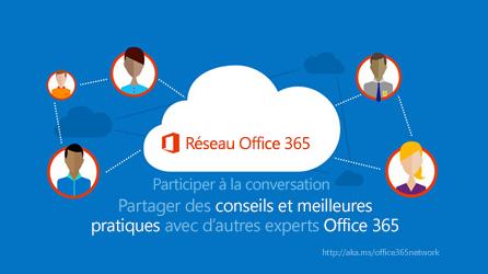 Diagramme montrant le Réseau Office 365 qui permet de partager des conseils et recommandations avec d'autres experts Office 365.
