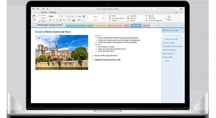 MacBook affichant un bloc-notes ouvert dans le nouveau OneNote pour Mac.