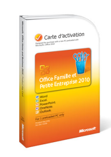 Carte de clé de produit Office 2010