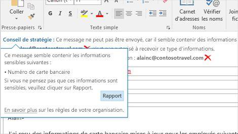 Gros plan d'un message électronique avec un conseil de stratégie destiné à empêcher l'envoi d'informations sensibles.