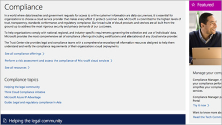 Page Microsoft Online Services affichant les informations de conformité réglementaire, lisez le FAQ sur la conformité réglementaire