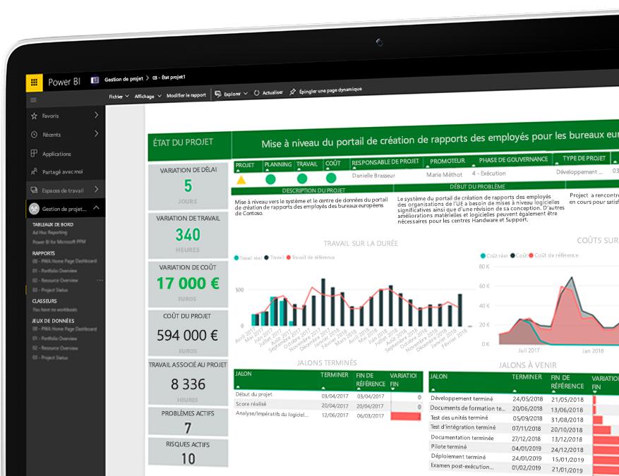 Appareil sur lequel le portail Project de création de rapports des employés est ouvert sur des données numériques et des visualisations de données