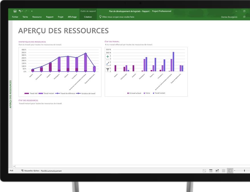Appareil affichant un fichier Project ouvert sur un rapport intitulé Aperçu des ressources