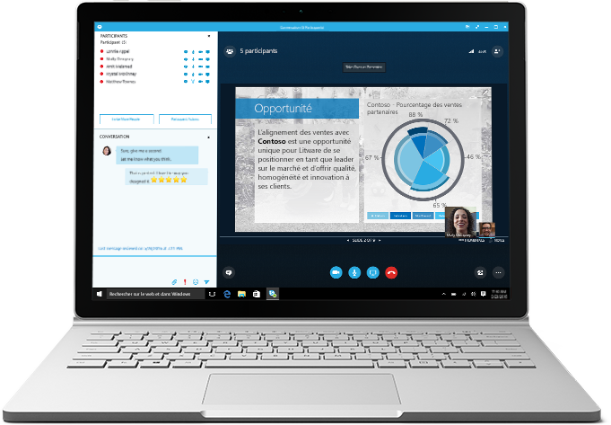 Ordinateur portable montrant une réunion Skype Entreprise en cours avec une présentation et une liste des participants