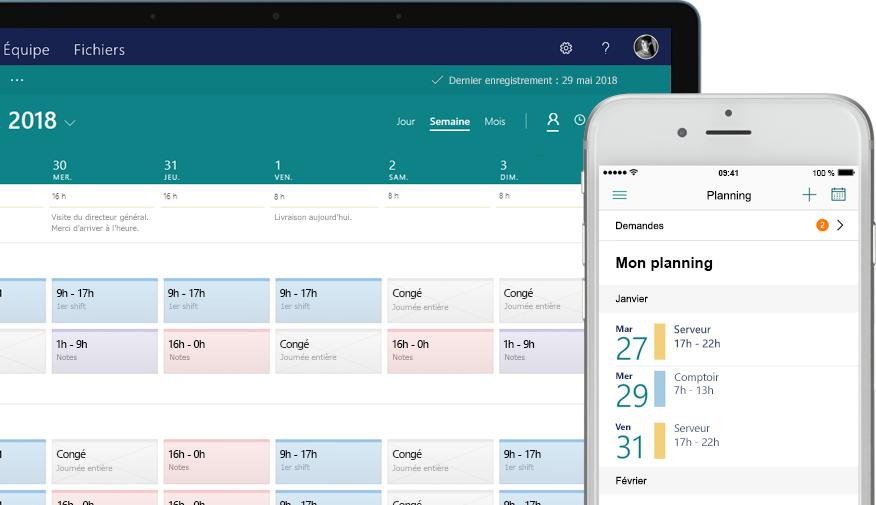 Ordinateur de bureau affichant un planning, et smartphone affichant l'écran de tâches avec des tâches attribuées et terminées