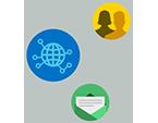 Icônes circulaires d'un globe terrestre, de contacts et de messages, reliées pour illustrer la connexion des équipes par Yammer.