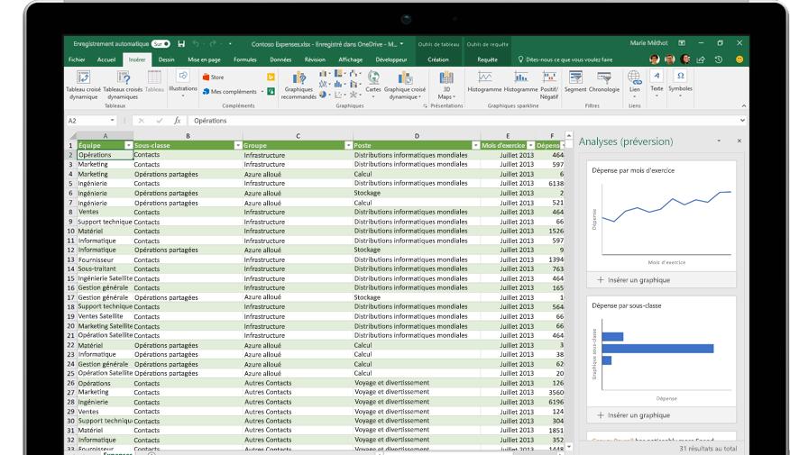 Page Partager dans Excel avec l'option Inviter des personnes activée.