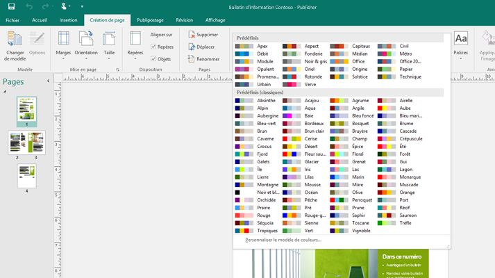 Capture d'écran d'une composition Publisher avec le menu Outils image affiché sur le ruban.