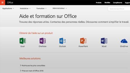 Capture d'écran de la page d'aide et de formation dans Office365