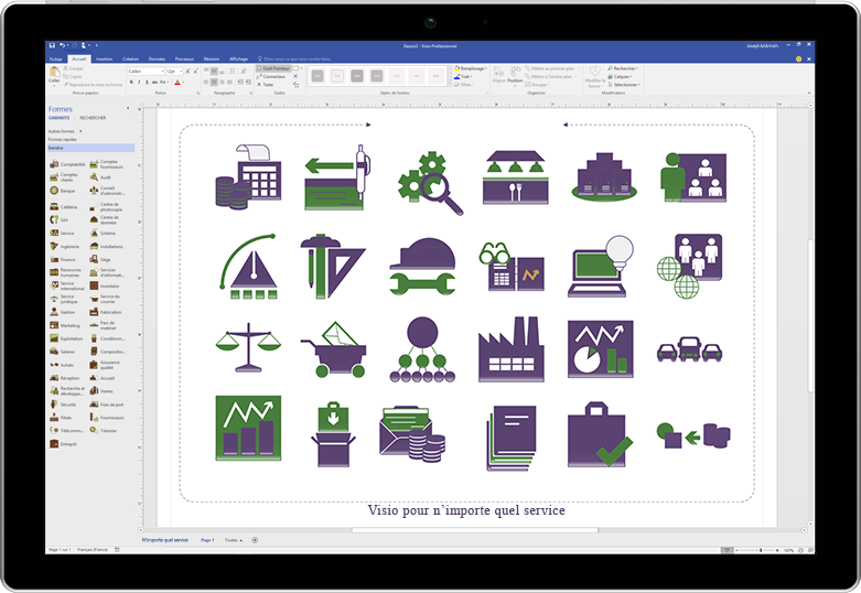 Écran de tablette affichant un diagramme de lancement de produit dans Visio
