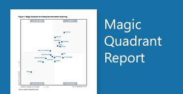 Graphisme Gartner Magic Quadrant. Lisez le dernier rapport de Magic Quadrant sur l'archivage d'informations d'entreprise.