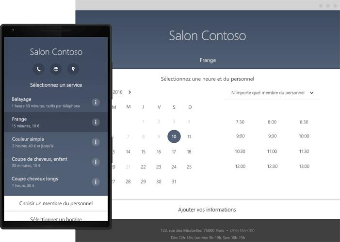 Téléphone affichant les outils de planification en ligne de Bookings dans Office365.