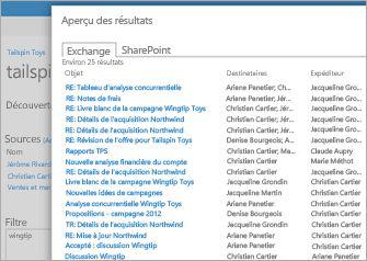Gros plan d'une liste de résultats d'aperçu de l'Archivage Exchange Online.