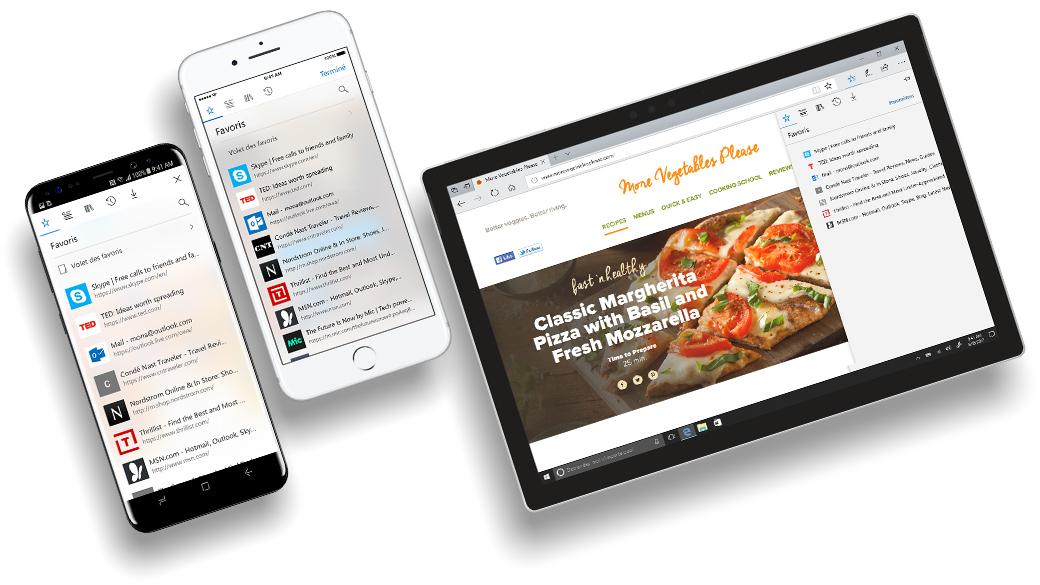iPhone et téléphone Android avec écrans Microsoft Edge montrant la fonctionnalité de synchronisation de données
