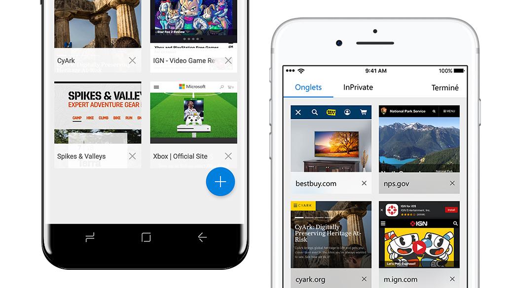 iPhone et téléphone Android avec écrans Microsoft Edge