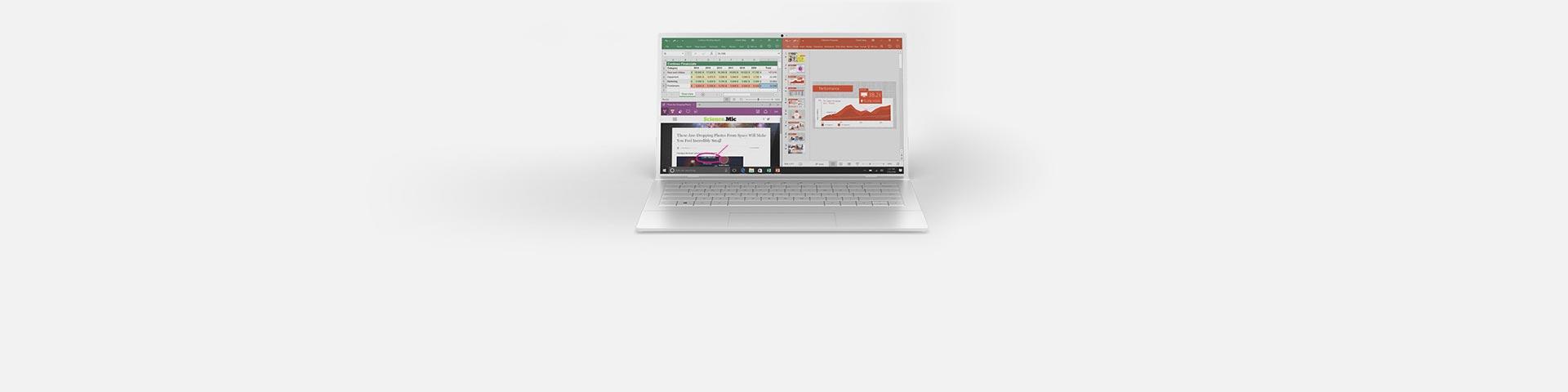 Un ordinateur portable avec des applications Office à l'écran.