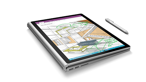 Surface Book en mode bloc-notes.