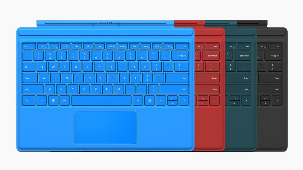 Type covers pour Surface Pro4 de diverses couleurs.
