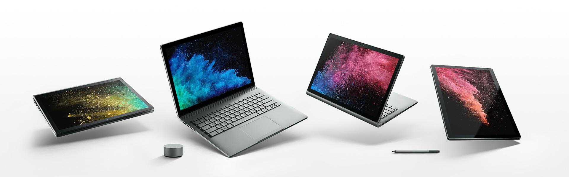 SurfaceBook2 en quatre modes d'utilisation