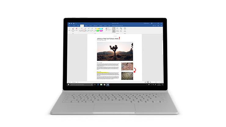 Écran 13,5pouces du Surface Book 2