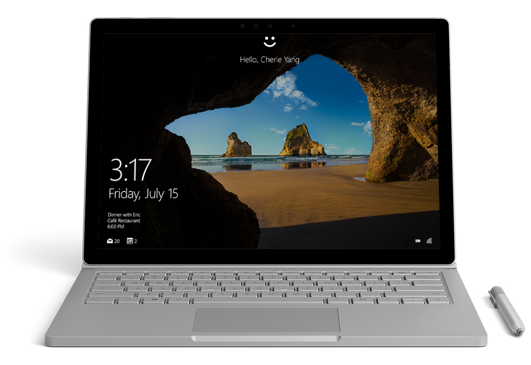 Surface Book de face avec Windows Hello à l'écran
