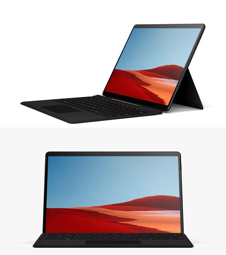 Vue de côté de la Surface Pro X avec un clavier Surface Pro X Keyboard