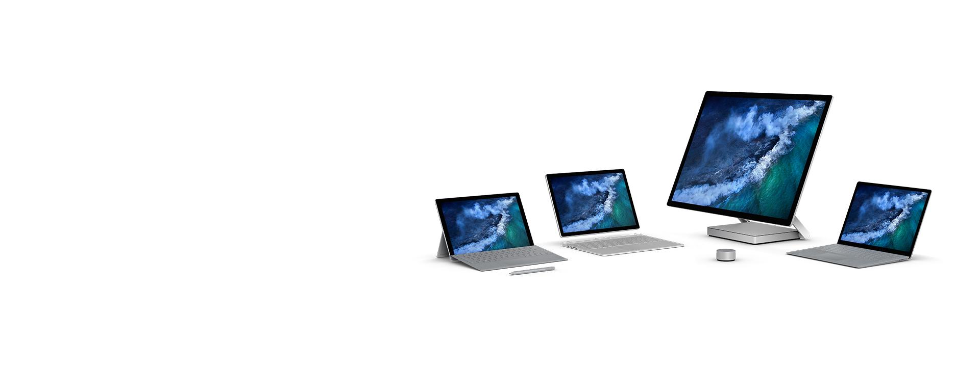 Famille Surface: SurfacePro, SurfaceLaptop, Surface Book 2 et SurfaceStudio