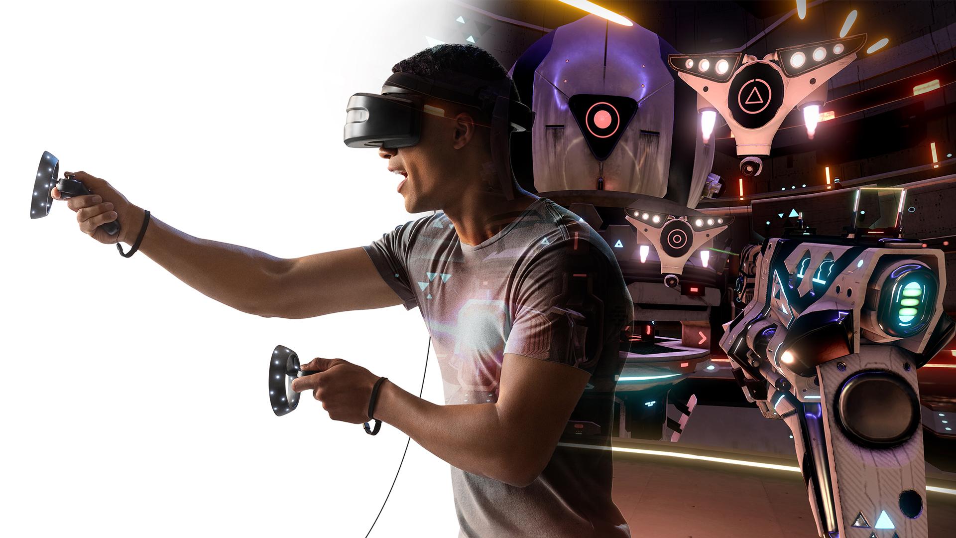 Un homme qui utilise du matériel Windows Mixed Reality pour jouer au jeu Space Pirate Trainer