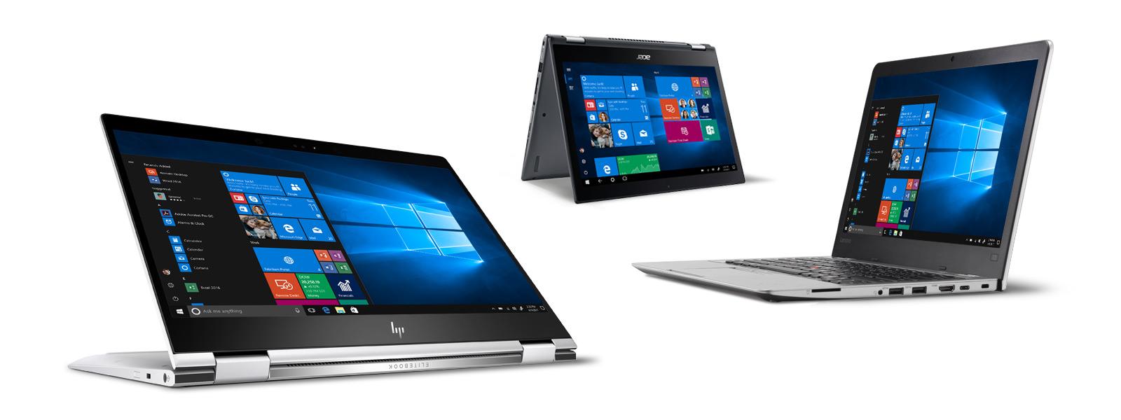 Divers ordinateurs portables affichant Windows 10