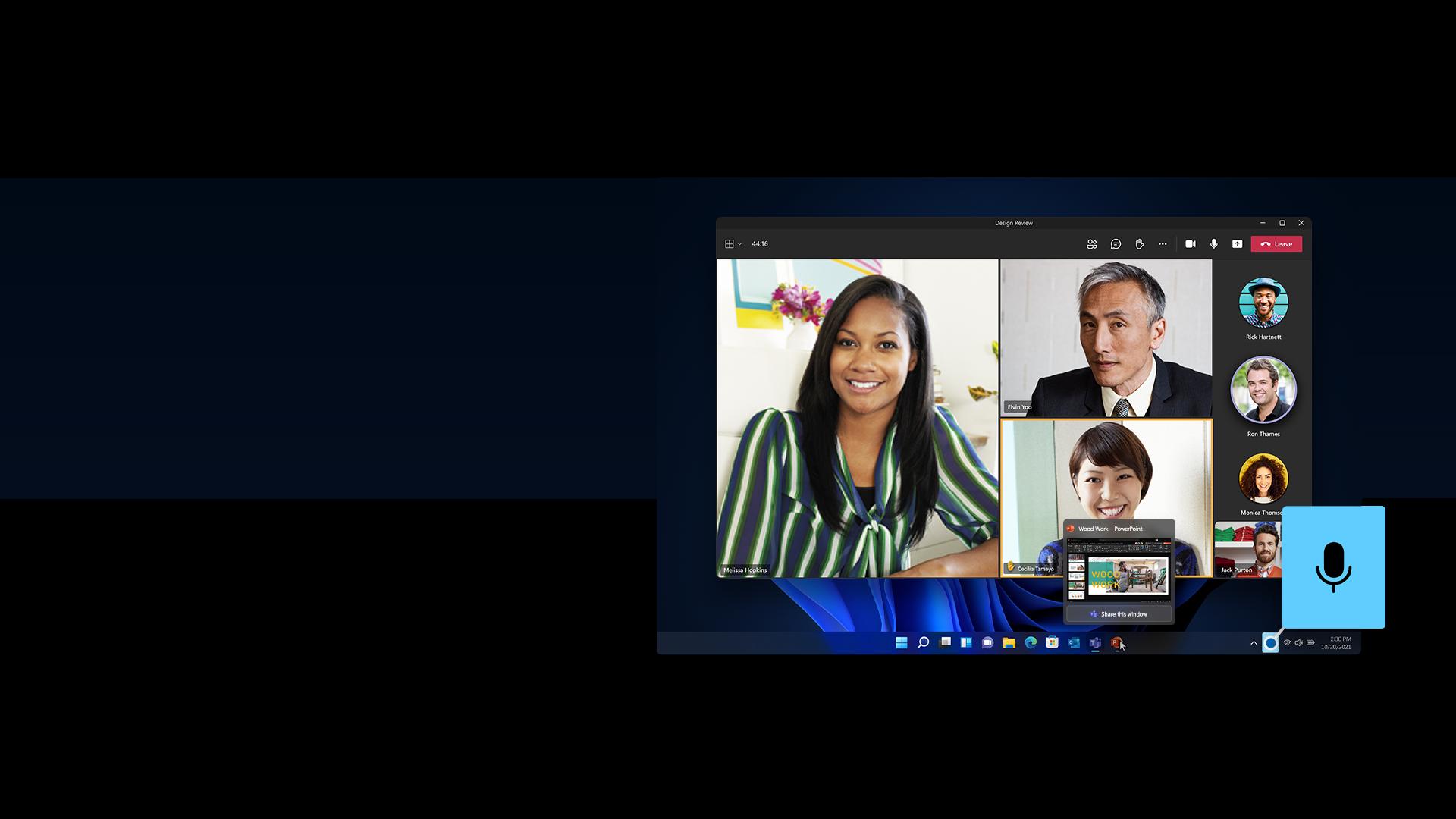 Écran Windows11 avec MicrosoftTeams, PowerPoint et fonction de mise en sourdine universelle