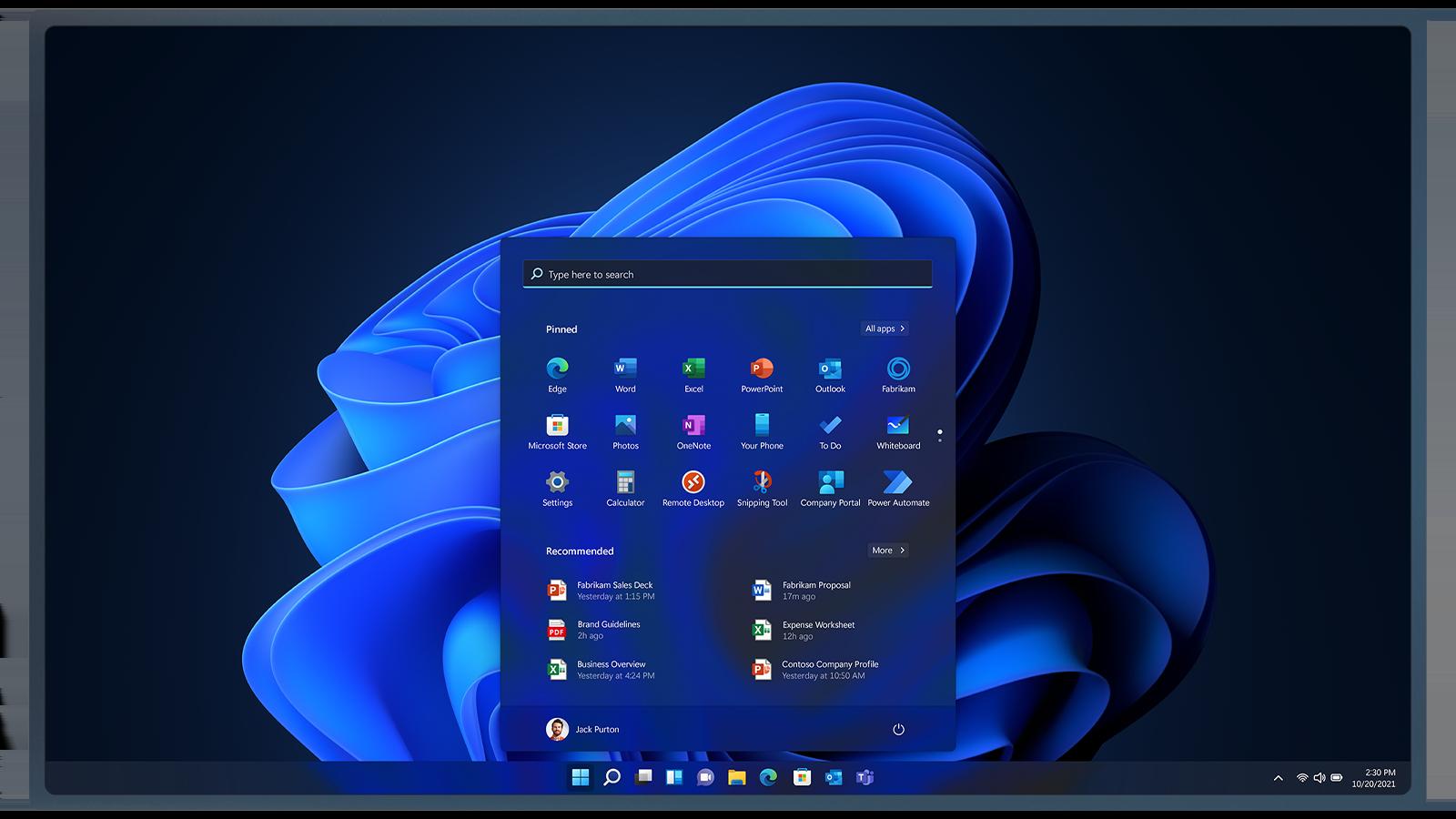 Écran d'accueil de Windows11