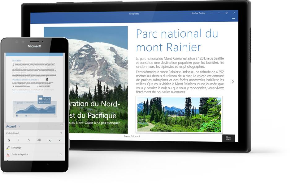 Tablette Windows affichant un document Word sur le Parc national du mont Rainier dans Word, et téléphone affichant un document dans l'application mobile Word