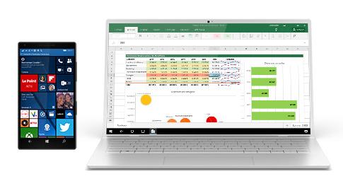 Téléphone Windows10 affichant son écran sur un ordinateur portable