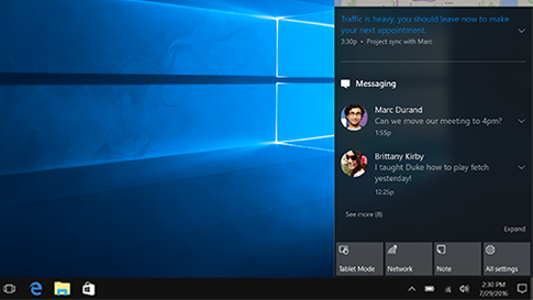 Centre de notifications Windows 10