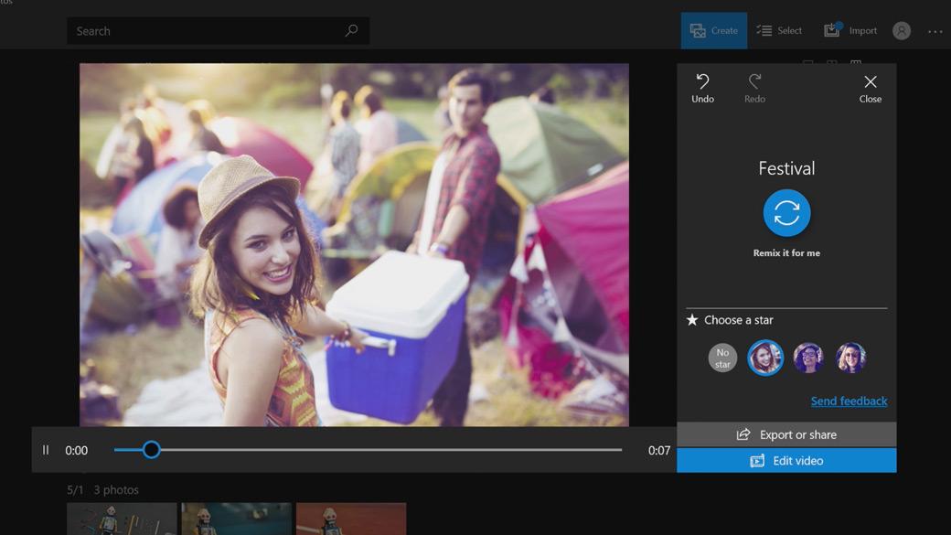 Image fixe de la réalisation d'un film dans Windows10