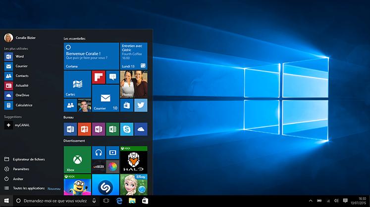 Laptop avec le menu démarrer de Windows10