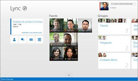 Capture d'écran de la page d'accueil Lync comprenant des miniatures des contacts ainsi que les options de connexion.