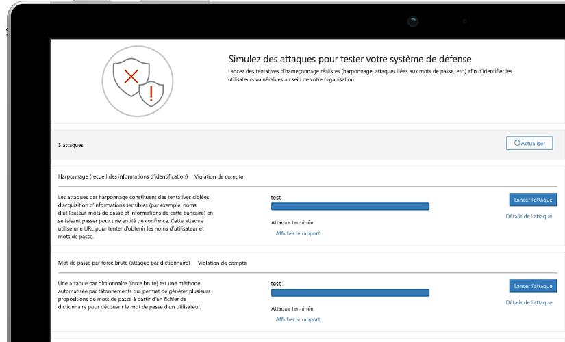 Gros plan d'une page de simulation d'une attaque sur un ordinateur portable affichant les informations d'un test en cours