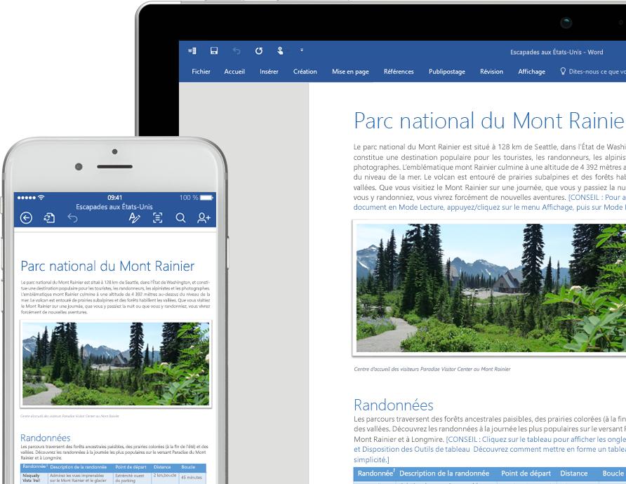 Téléphone mobile et ordinateur portable affichant un document Word consacré au parc national du mont Rainier