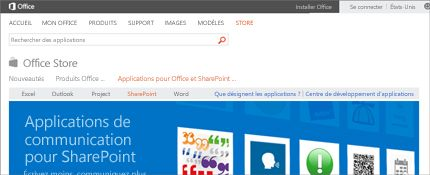 Capture d'écran de la page des applications SharePoint dans Office Store.