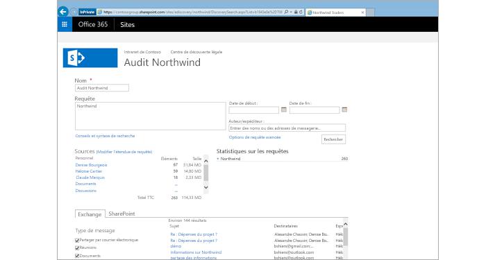 Gros plan d'une liste d'aperçu des résultats d'Archivage Exchange Online.
