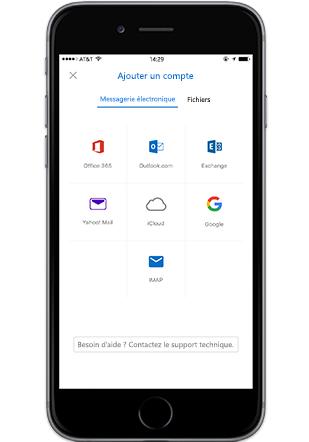 Smartphone affichant l'écran Ajouter un compte dans l'application mobile Outlook