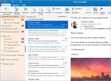 Capture d'écran d'une boîte de réception Microsoft Outlook2013 avec une liste de messages et un aperçu.