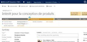 Image d'une page d'opportunité commerciale dans Microsoft DynamicsCRM Online.